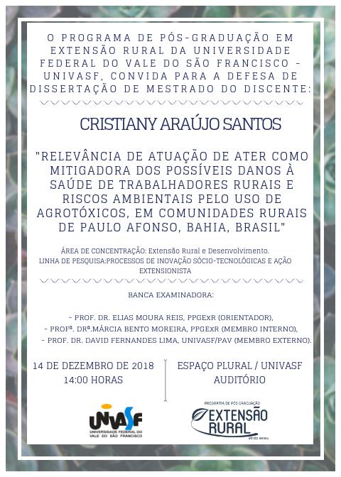 Convite Defesa. CRISTIANY