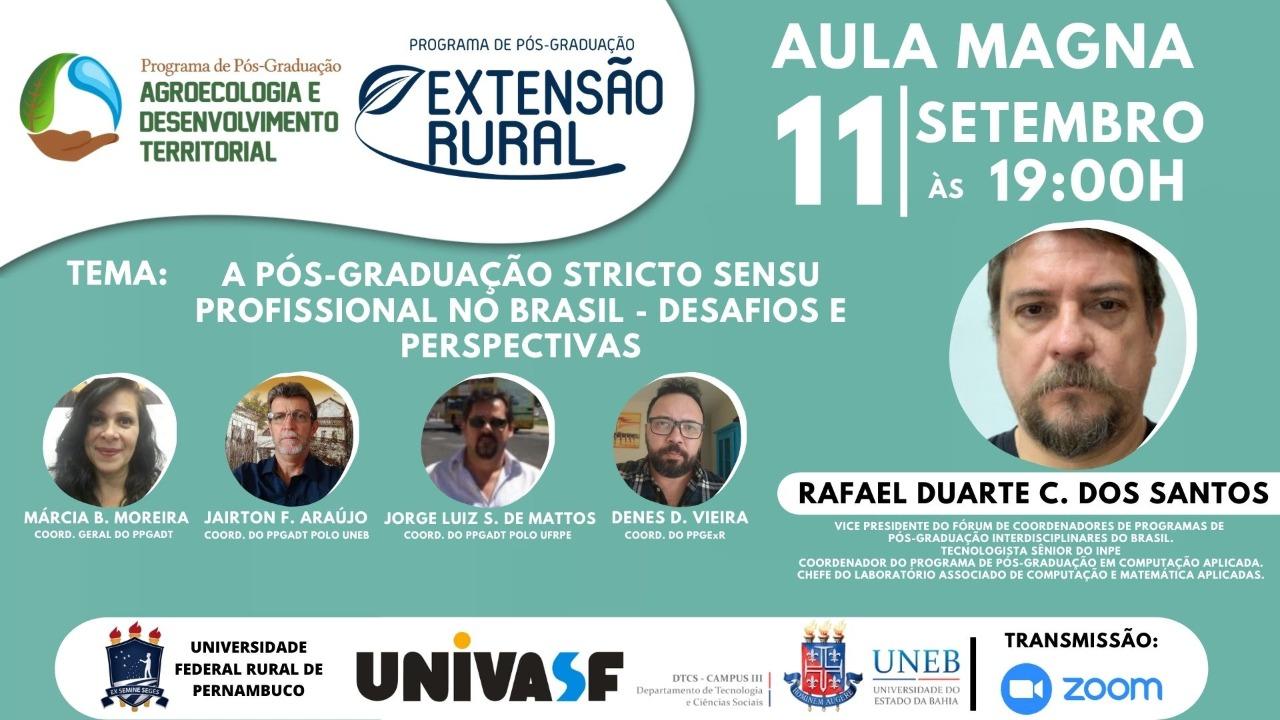 Convite Aula Magna: a pós-graduação stricto sensu profissional no Brasil - desafios e perspectivas